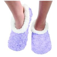 Purple Ladies Rose Textured Fur-Like Snoozies Slippers